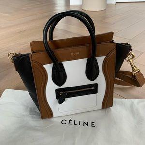 CELINE Nano Luggage in Tan White and Black